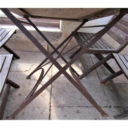 57 - A vintage style café table, the rectangular top zinc lined, 120cm x 80cm, raised on an ironwork base