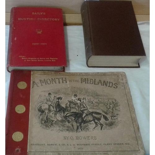 44 - Fox-hunting by Charles Frederick. 1930 & Bailey's Hunting Directory 1900-1901 & A Month in the Midla...