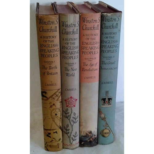 54 - Winston S. Churchill.  A History of The English Speaking Peoples. 4 vols. 1956-58. First editions in...