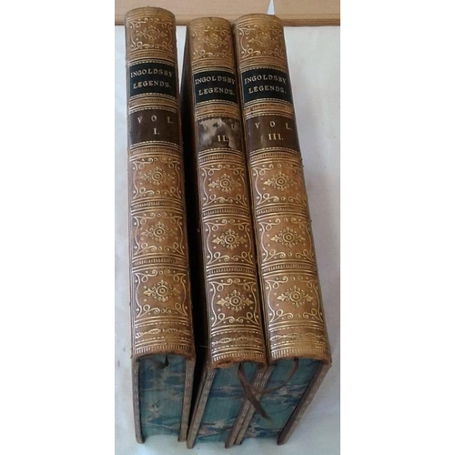 71 - The Ingoldsby Legends by Thomas Ingoldsby. 1855. 3 volume set in attractive full leather binding...