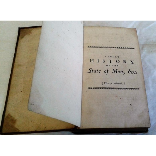 91 - A Short History of the State of Man   Rev. Mr. Wetenhall Wilkes.   London. 1746. Half leather....