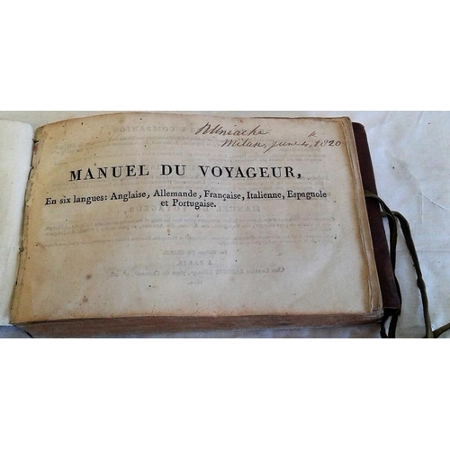 92 - Manuel Du Voyageur,   In Six Languages, English etc. Paris. 1810. Full leather with ribbon. rare ite...