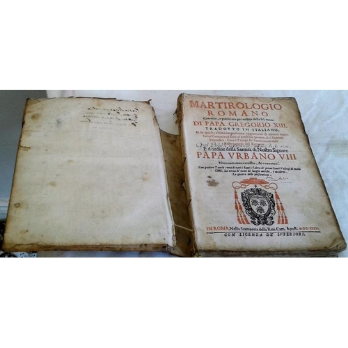97 - Martirologio Romano Corretto. Romae. 1636. Vellum, loose....