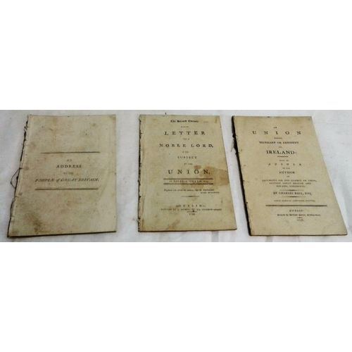 115 - Act of Union Pamphlets. 1798-1798. 3 works. Disbound...