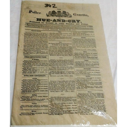 116 - Hue and Cry. The Police Gazette of Ireland. November 1876. A very detailed and informative publicati...