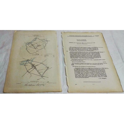 121 - Banagher. Map of the Municipal Commissioners. Signed by Thomas Larcom. 1837. With 2 pages of text. R...