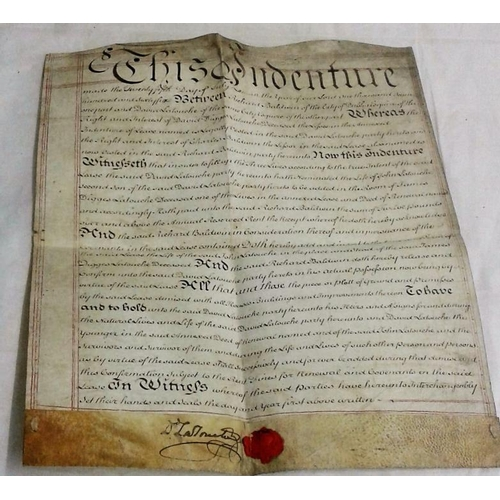 123 - Latouche Indenture. 1766. Richard Baldwin and David Latouche. Vellum deed, signed and sealed by Davi...
