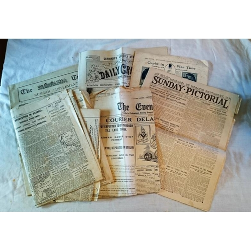 193 - WW1, pages from different newspapers during WW1 including A Russian Supplement to the Times, 1915....