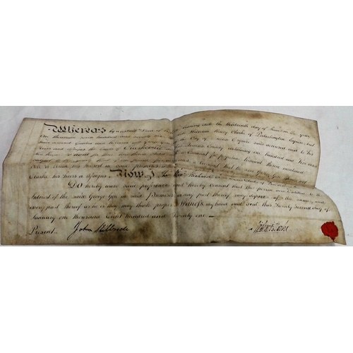 196 - Deed. 1821. William Henry Clark of Portarlington and George Gore, City of Dublin re lands of Clarkvi...
