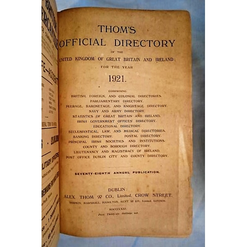 200 - Thom's Directory 1921 2300 pps plus 57 pps of ads catalogue; Map present. (1)...