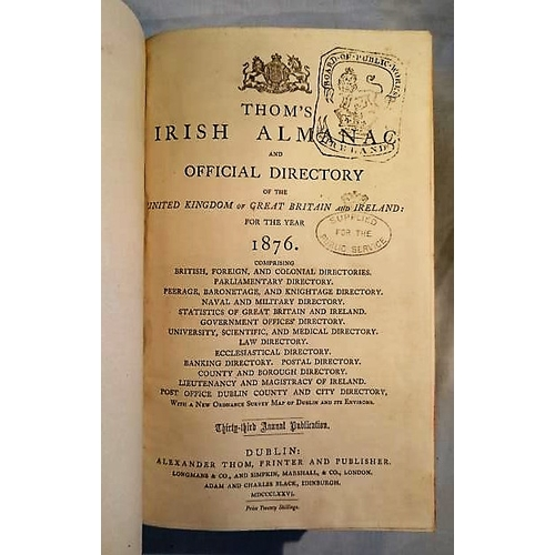 201 - Thom's Directory 1876. Text good, covers damaged; Map of Dublin present. (1)...