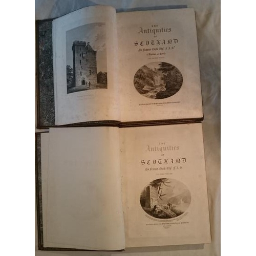 203 - Francis Grose, The Antiquities of  Scotland. 2 volumes. Royal 4to, or Folio; Full worn calf but text...