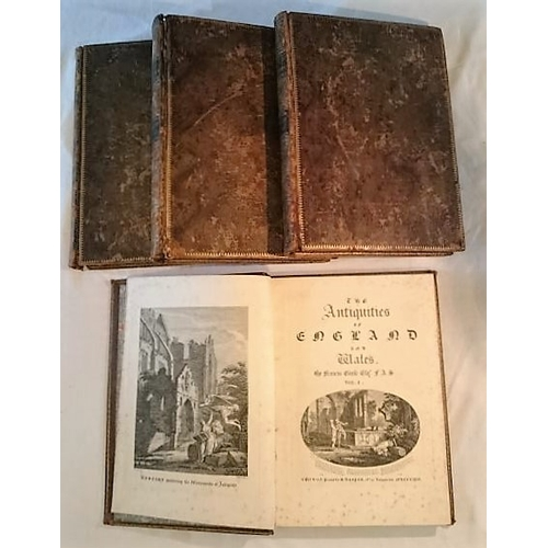 204 - Francis Grose, The Antiquities of England and Wales. 4  Vols.  Royal 4to or Folio; Full worn calf bu...