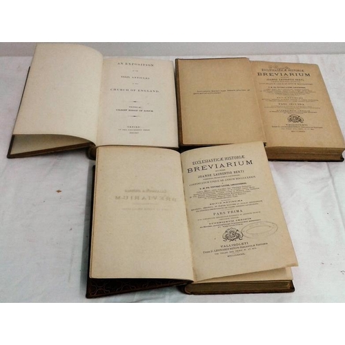 234 - Exposition on the XXXIX Articles by Gilbert. Oxford. 1845.   &  Ecclesiaticae Historiae. 1889. 3 att...
