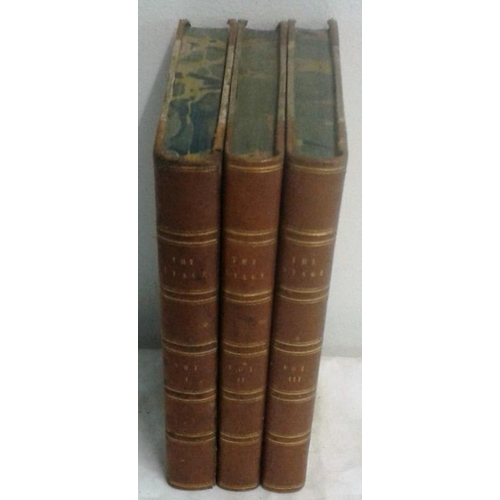 245 - The Stage both before and behind the curtain by Alfred Bunn. London. 1840. 3 volumes. Lovely set in ...