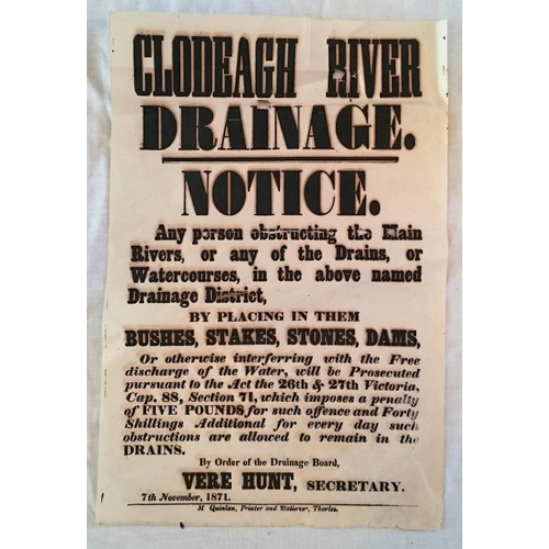 276 - Tipperary Poster 1871; Clodeagh River drainage Notice; 390mm x 250mm; Printed by M.Quinlan, Thurles....