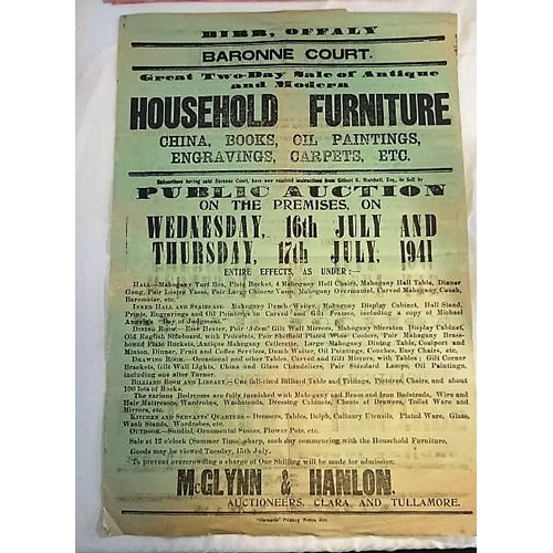 277 - Auction Poster, Baronne Court, Birr, 1941; Two Day Sale of Household Goods; 765x520mms; McGlynn and ...