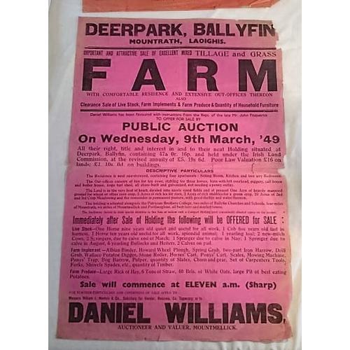 278 - Auction Poster, Deerpark, Ballyfin. 1949; 765x520 mms; Sale of Farm; Williams Auctioneer, Mountmelli...