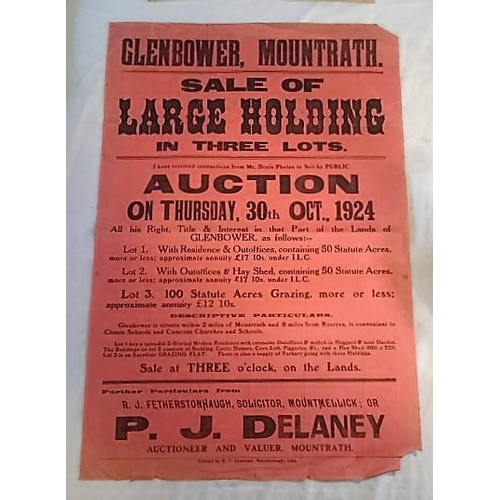 279 - Auction Poster, Glenbower, Mountrath, 1924, large 765 x 520mms; Auctioneer Delaney Mountrath. (1)...