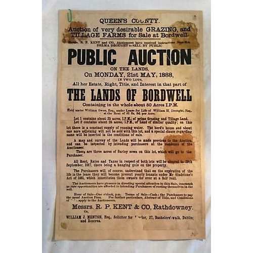 280 - Auction Poster Queen's Co., 1888; 445 x285 mms; mounted on light card; Bordwell; Sale of Lands; Kent...