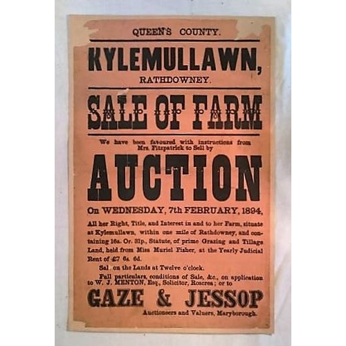 281 - Auction Poster Queen's Co., 1894; 445 x285 mms; mounted on light card; Kylemullawn, Rathdowney, Sale...