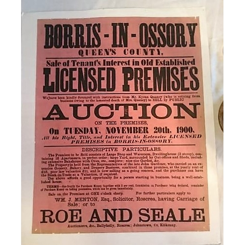 282 - Auction Poster, Borris-in-Ossory Licensed Premises, 1900; 575x445 mms, mounted on light card; Roe an...
