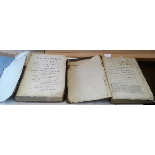 285 - The Earl of Strafforde's  Letter and Dispatches. Dublin. 1740. Large format. 2 vols. Working copy....