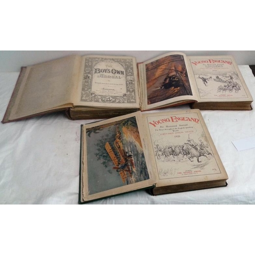 289 - Young England. An Illustrated Annual For Boys. 1920. 1921 & The Boy's Own Annual. 1889-90. 3 books...
