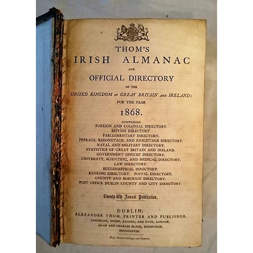 290 - Thom's Directory 1868. 1858 pps. Hon Judge Miller's copy; text good, covers damaged  (1)...