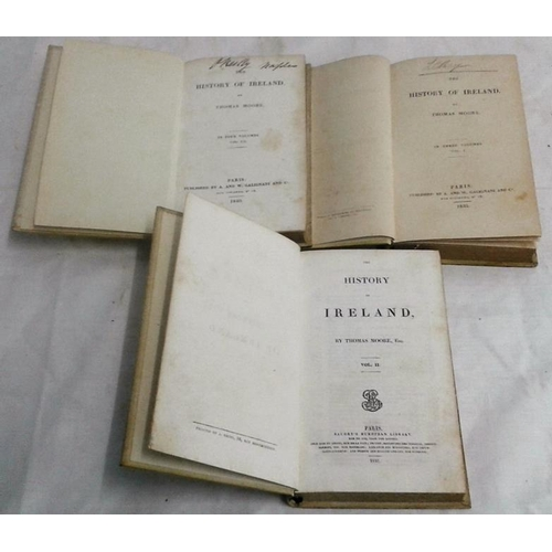 316 - The History of Ireland by Thomas Moore. Paris. 1835-1840. 3 volumes in full vellum....