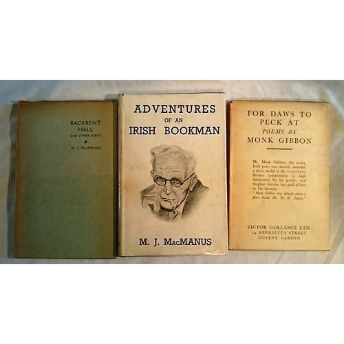 320 - M.J. McManus, Adventures of a Bookman (1952); Rackrent Hall and other poems (1941); Monk Gibbon, For...