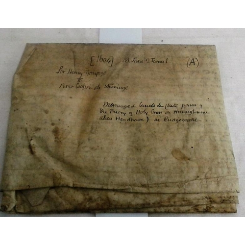 356 - Jacobean Indenture. Sir Henry Gorynge to Peter Cooper at Steininge re land transaction. 1604. Large ...
