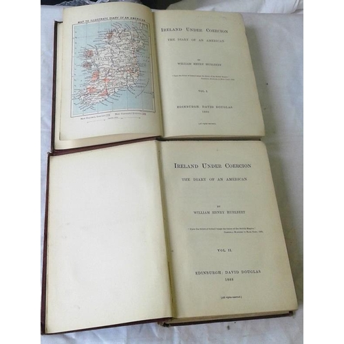 410 - Ireland under coercion. The Diary of an American. Hurlbert. Edinburgh. 1888. 2 vols....