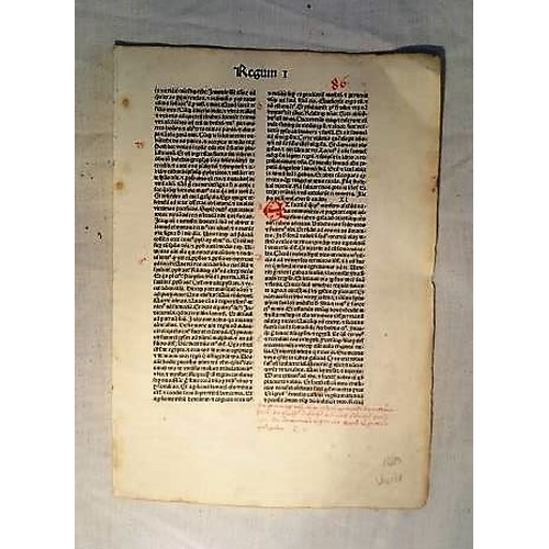 440 - Incunabula Leaf: Early printed Leaf of 1480 from a Biblia Latina, Venice;  Franciscus Renner of Heil...