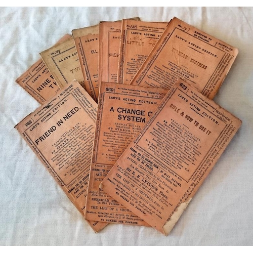 441 - 19th century theatre play scripts: 9 booklets of Lacy's acting editions in original wraps; c1850-186...