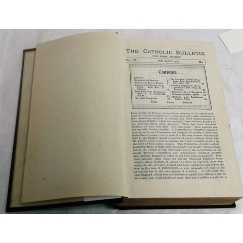 485 - The Catholic Bulletin and Book Review. 1916. Dublin. Cloth. Contains great deal of information and p...
