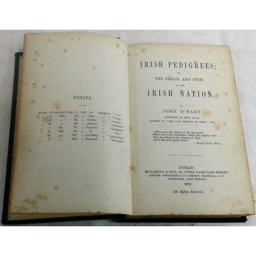 488 - Irish Pedigrees or Origin and Stem of the Irish Nation. John O'Hart. Dublin. 1878. Very good...