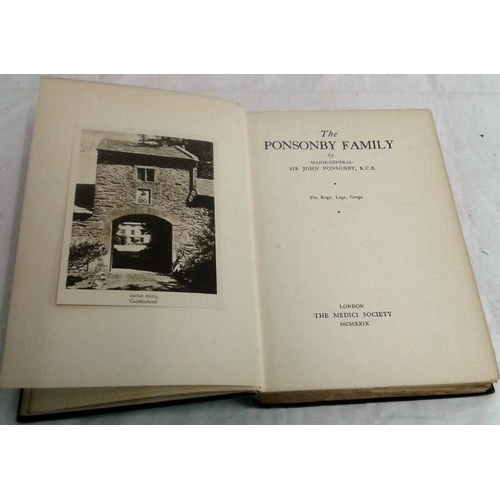 489 - The Ponsonby Family. Sir John Ponsonby. London, The Medici Society. 1929. Ponsonbys of Kilcooley, Be...