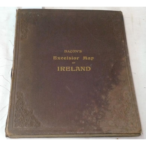 511 - Bacon's Excelsior Map of Ireland with Railways etc. London. circa 1900. Large folding map...