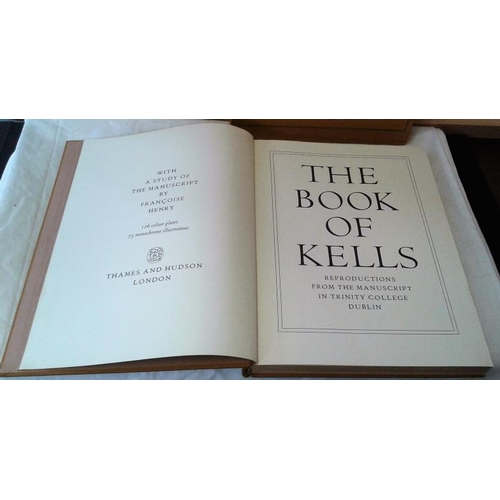 522 - The Book of Kells . 1974-1977. Two editions, large format. Colour plates. one in slip case, other in...