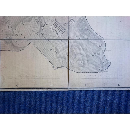 427 - Planta Topografica Di Roma. 1856. Very large format, detailed and rare map on linen....