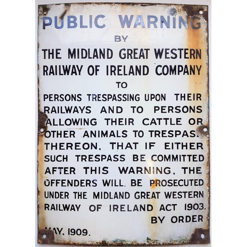 22 - Public Warning Cattle And People - Public Warning By The Midland Great Western Railway of Ireland Co...