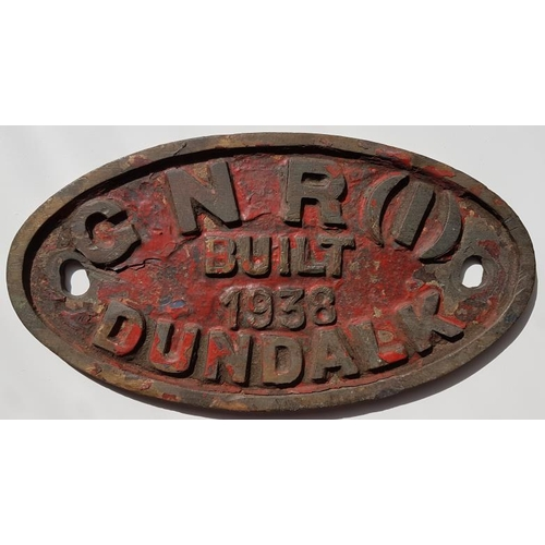 29 - Loco Maker's Plate - Great Northern Railway(I) Built 1938 Dundalk, 8.5in x 4.5in...