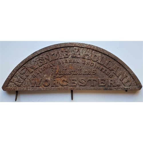 56 - Half Ellipse Sign - McKenzie and Holland Railway Signal Engineers. Patentees. Worcester, 19in base x...