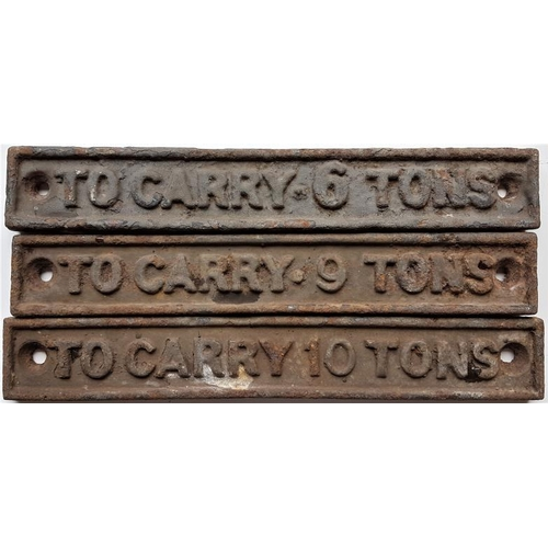 58 - 3 Small Signs - To Carry 6 / 9 / 10 Tons, 8in x 1.5in...