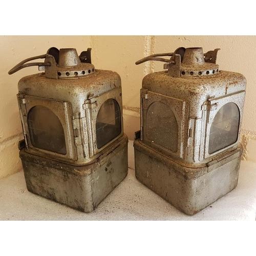 59 - Pair of Grey Railway Lamps, 11in...