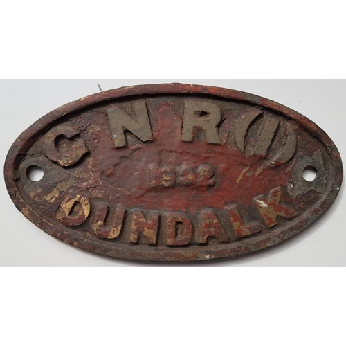 114 - Loco Maker's Plate - Great Northern Railway(I) 1932 Dundalk, 8.5in by 4.5in...