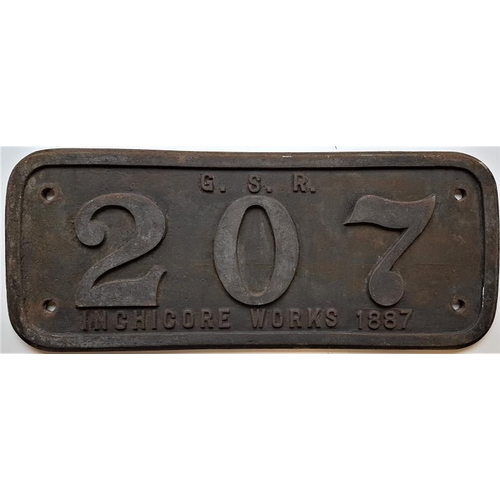 116 - Steel Loco Maker's Plate - 207 Great Southern Railway Inchicore Works 1887, 25in x 10in...