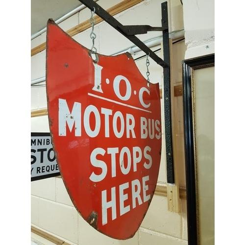 484 - 'Irish Omnibus Company' Double Sided Enamel Sign with Bracket - 21 x 21ins...