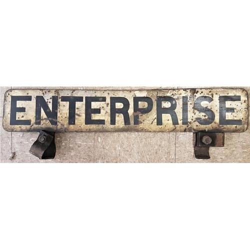 531 - Enamel Headboard - Enterprise, steam loco, 33.5in x 6in...